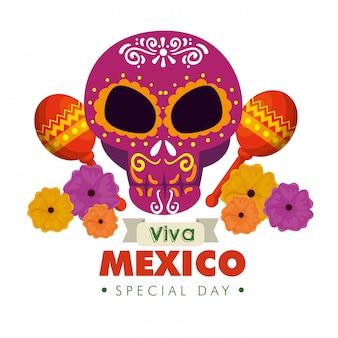 Crâne avec des maracas et des fleurs pour le jour de la journée