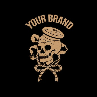 Crâne marin vintage tatouage logo illustration vieille école thème