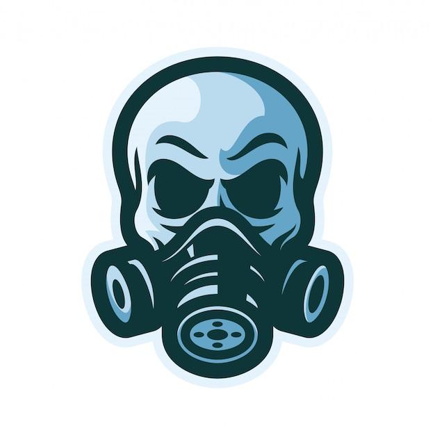 Crâne avec masque à gaz mascotte illustration vectorielle logo