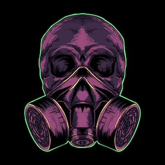 Crâne avec masque à gaz violet illustration