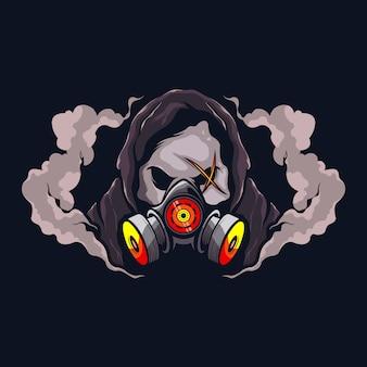Crâne avec masque à gaz
