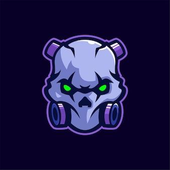 Crâne masque tête dessin animé logo modèle illustration esport logo jeu premium vecteur