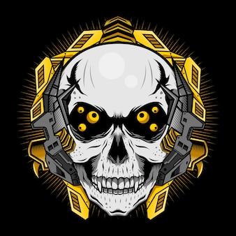 Crâne mécanique aux yeux d'or concept de design vectoriel détaillé