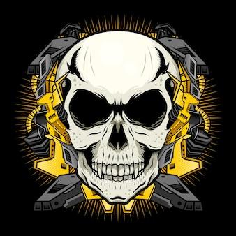 Crâne mécanique avec concept d'illustration vectorielle détaillée d'armure d'or