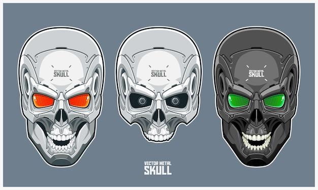 Crâne en métal avec un design futuriste et mécanique