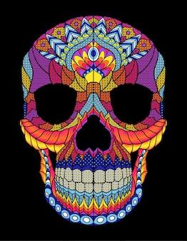 Crâne mexicain coloré