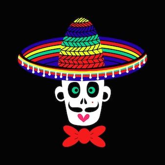 Un crâne mexicain d'un homme zombie dans un chapeau sombrero. un crâne pour la conception conceptuelle de la célébration d'halloween. illustration vectorielle