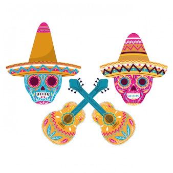 Crâne mexicain avec l'icône de la guitare