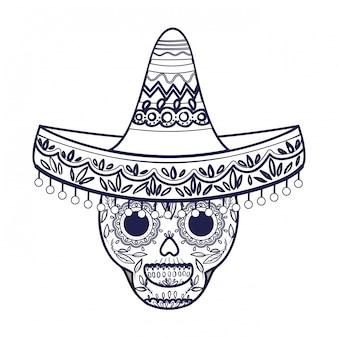 Crâne mexicain avec icône isolé chapeau