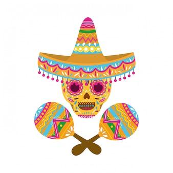 Crâne mexicain avec icône isolé maraca