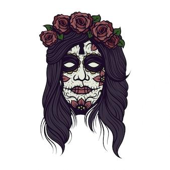 Crâne mexicain isolé avec les cheveux
