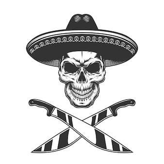 Crâne mexicain monochrome vintage en chapeau