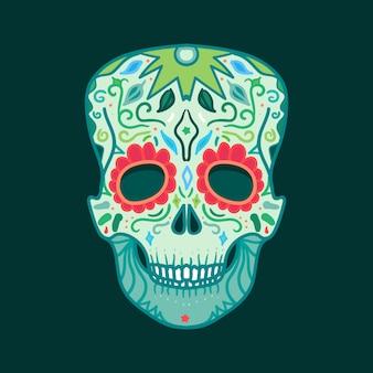 Crâne mexicain avec ornement pour impression, autocollant, emballage, affiche et voeux.