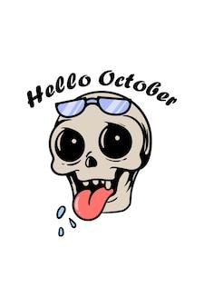 Crâne mignon avec illustration de dessin animé de texte bonjour octobre