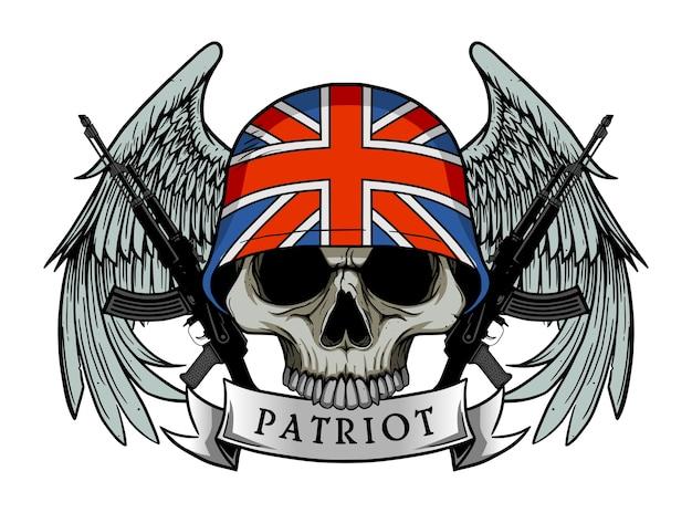 Crâne militaire ou crâne de patriote avec casque drapeau uk