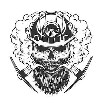 Crâne de mineur barbu et moustachu