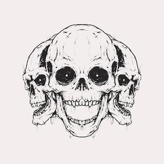 Crâne monochrome vintage avec d'autres crânes derrière l'illustration croisée. modèle de vecteur isolé