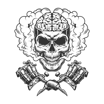 Crâne monochrome vintage avec cerveau humain