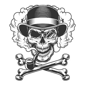 Crâne monochrome vintage en chapeau fedora