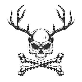 Crâne monochrome vintage avec des cornes de cerf