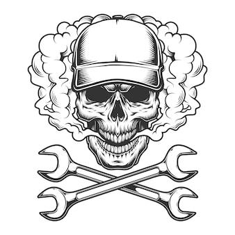 Crâne monochrome vintage portant une casquette de baseball