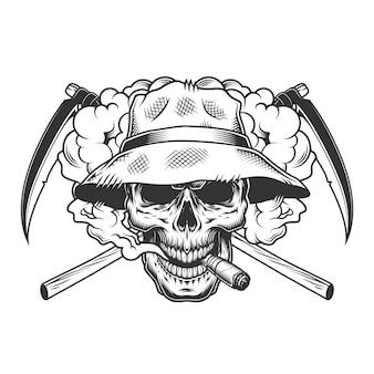 Crâne monochrome vintage portant un chapeau panama