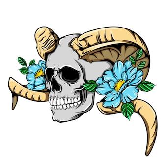 Crâne de mort avec corne de mouton métallique