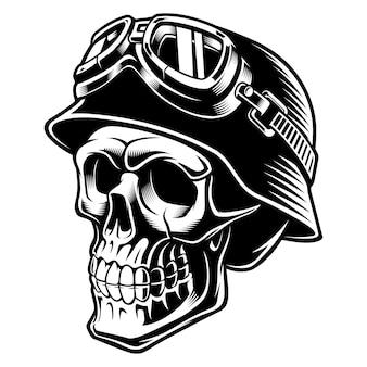 Crâne de motard avec casque. pilote de moto. sur fond blanc.