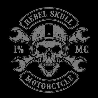 Crâne de motard avec casque vintage et outils, adapté au logo du club de moto