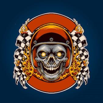 Crâne motard en flamme