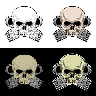 Crâne de motard avec fond de double piston