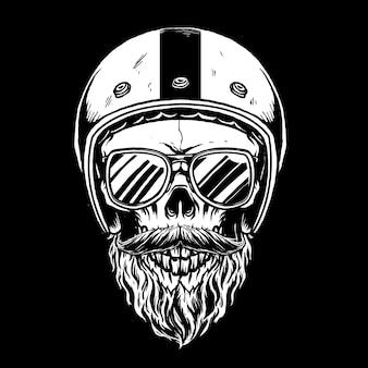 Crâne de motard avec illustration barbu