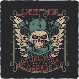 Crâne de motard, pièces de moto et ailes