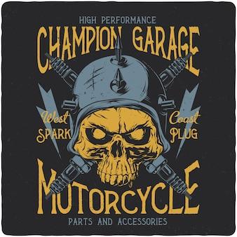 Crâne de motard et pièces de moto