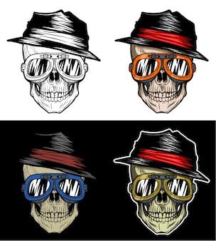Le crâne de motard reste frais portant le chapeau et les lunettes, dessin de main avec 4 couleurs de variation