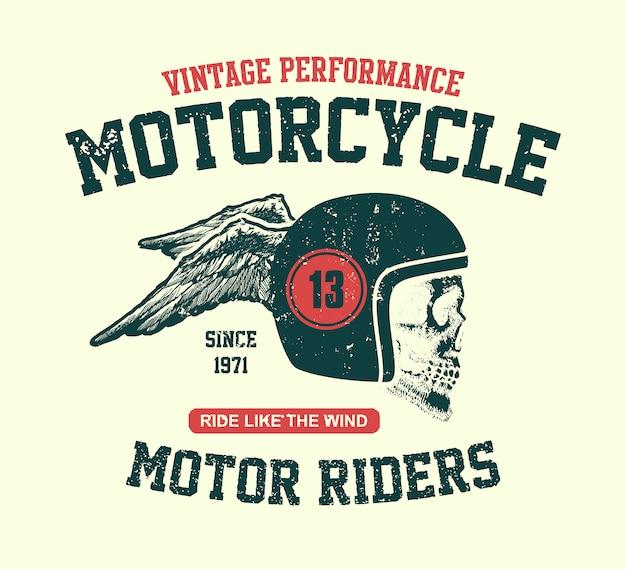 Crâne de moteur. motard design vintage.