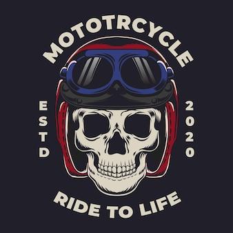 Crâne de moto vintage coloré