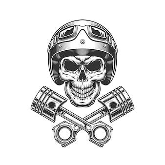 Crâne de moto vintage dans un casque de moto