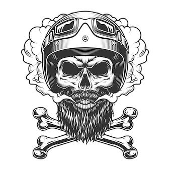 Crâne de motocycliste monochrome vintage