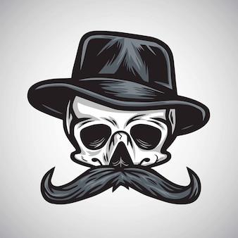 Crâne moustache gentleman au chapeau