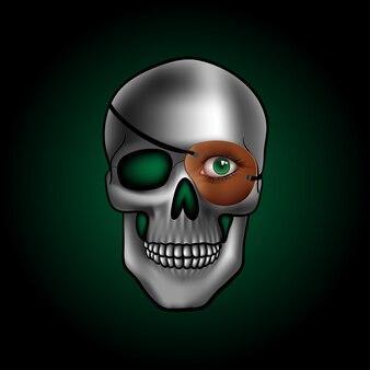 Crâne avec un œil vert