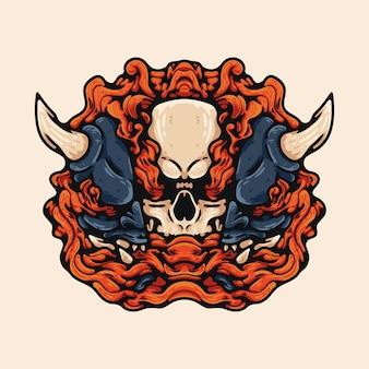 Crâne et oni avec fumée rouge