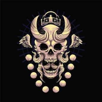 Crâne oni illustration avec ornement. convient aux t-shirts, aux imprimés et aux produits dérivés