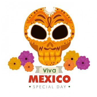 Crâne ornement décoratif avec des fleurs pour un événement au mexique
