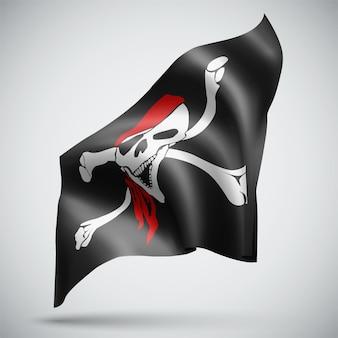 Crâne avec os pirate vector drapeau 3d isolé sur fond blanc