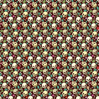 Crâne et os vintage seamless fond halloween