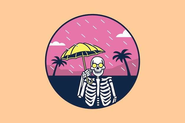 Crâne avec parapluie et fond rose rouge