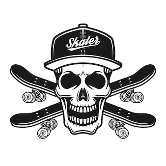 Crâne de patineur en casquette de baseball ou snapback et deux planches à roulettes croisées vector illustration noire isolée sur fond blanc