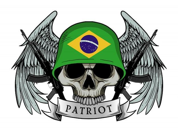 Crâne de patriote avec le drapeau du brésil