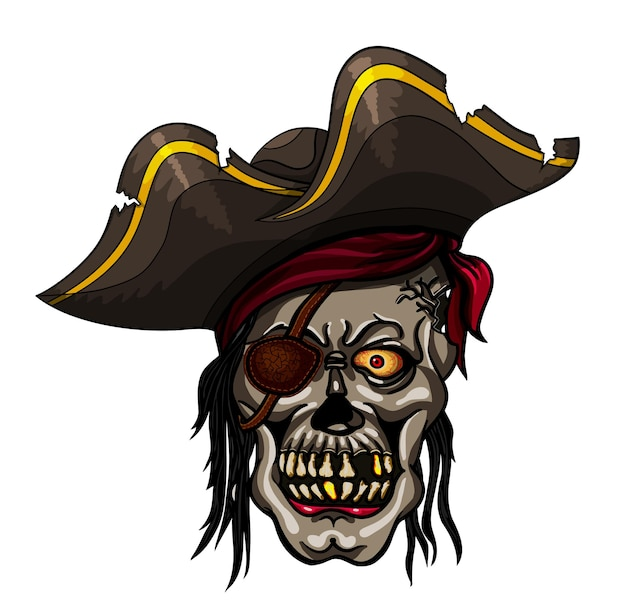 Crâne de pirate de danger dans le bandana pour la conception de tatouage ou de t-shirt